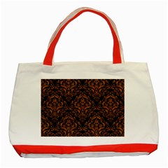 Damask1 Black Marble & Rusted Metal (r) Classic Tote Bag (red) by trendistuff