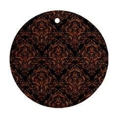 Damask1 Black Marble & Rusted Metal (r) Round Ornament (two Sides) by trendistuff