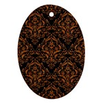 DAMASK1 BLACK MARBLE & RUSTED METAL (R) Oval Ornament (Two Sides) Back