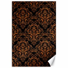 Damask1 Black Marble & Rusted Metal (r) Canvas 24  X 36
