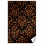 DAMASK1 BLACK MARBLE & RUSTED METAL (R) Canvas 24  x 36  36 x24 Canvas - 1