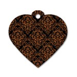 DAMASK1 BLACK MARBLE & RUSTED METAL (R) Dog Tag Heart (One Side) Front