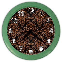 Damask1 Black Marble & Rusted Metal (r) Color Wall Clocks by trendistuff