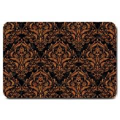 Damask1 Black Marble & Rusted Metal (r) Large Doormat  by trendistuff