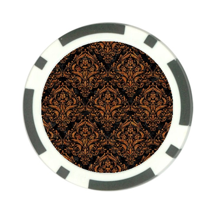 DAMASK1 BLACK MARBLE & RUSTED METAL (R) Poker Chip Card Guard