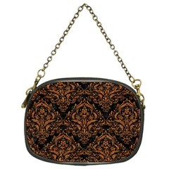 Damask1 Black Marble & Rusted Metal (r) Chain Purses (one Side)