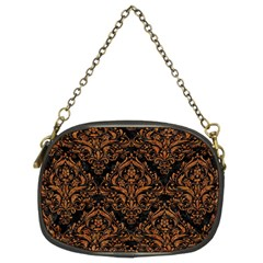Damask1 Black Marble & Rusted Metal (r) Chain Purses (two Sides)  by trendistuff