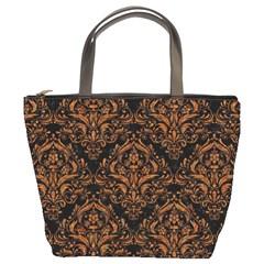Damask1 Black Marble & Rusted Metal (r) Bucket Bags by trendistuff