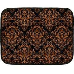 Damask1 Black Marble & Rusted Metal (r) Fleece Blanket (mini)