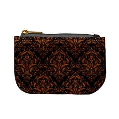 Damask1 Black Marble & Rusted Metal (r) Mini Coin Purses
