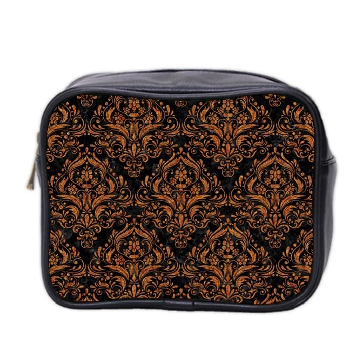 DAMASK1 BLACK MARBLE & RUSTED METAL (R) Mini Toiletries Bag 2-Side