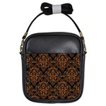 DAMASK1 BLACK MARBLE & RUSTED METAL (R) Girls Sling Bags Front