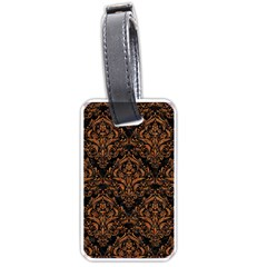 Damask1 Black Marble & Rusted Metal (r) Luggage Tags (two Sides)