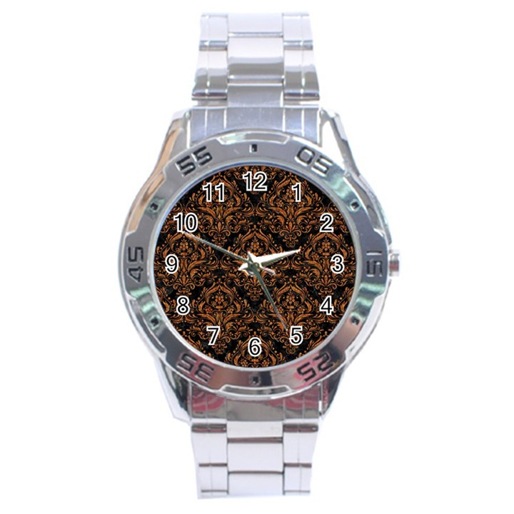 DAMASK1 BLACK MARBLE & RUSTED METAL (R) Stainless Steel Analogue Watch