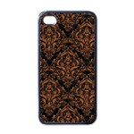 DAMASK1 BLACK MARBLE & RUSTED METAL (R) Apple iPhone 4 Case (Black) Front