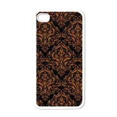 Damask1 Black Marble & Rusted Metal (r) Apple Iphone 4 Case (white) by trendistuff