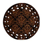 DAMASK1 BLACK MARBLE & RUSTED METAL (R) Round Filigree Ornament (Two Sides) Front
