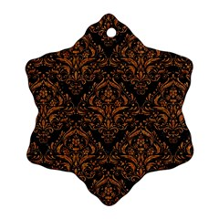 Damask1 Black Marble & Rusted Metal (r) Snowflake Ornament (two Sides)