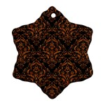 DAMASK1 BLACK MARBLE & RUSTED METAL (R) Snowflake Ornament (Two Sides) Front
