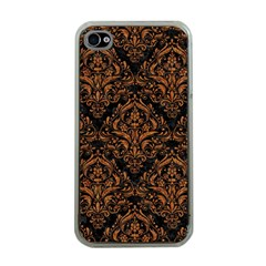 Damask1 Black Marble & Rusted Metal (r) Apple Iphone 4 Case (clear) by trendistuff