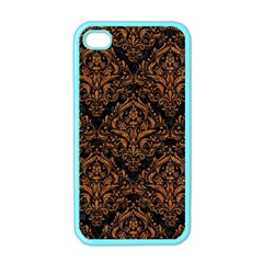 Damask1 Black Marble & Rusted Metal (r) Apple Iphone 4 Case (color) by trendistuff