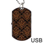 DAMASK1 BLACK MARBLE & RUSTED METAL (R) Dog Tag USB Flash (One Side) Front
