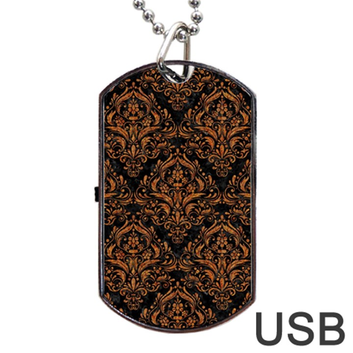 DAMASK1 BLACK MARBLE & RUSTED METAL (R) Dog Tag USB Flash (One Side)