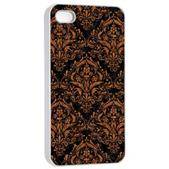 Damask1 Black Marble & Rusted Metal (r) Apple Iphone 4/4s Seamless Case (white) by trendistuff