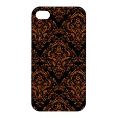 Damask1 Black Marble & Rusted Metal (r) Apple Iphone 4/4s Hardshell Case by trendistuff