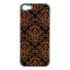 Damask1 Black Marble & Rusted Metal (r) Apple Iphone 5 Case (silver) by trendistuff