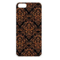Damask1 Black Marble & Rusted Metal (r) Apple Iphone 5 Seamless Case (white) by trendistuff