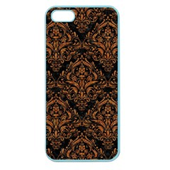 Damask1 Black Marble & Rusted Metal (r) Apple Seamless Iphone 5 Case (color) by trendistuff