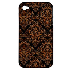 Damask1 Black Marble & Rusted Metal (r) Apple Iphone 4/4s Hardshell Case (pc+silicone) by trendistuff