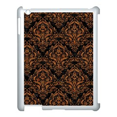 Damask1 Black Marble & Rusted Metal (r) Apple Ipad 3/4 Case (white)