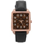 DAMASK1 BLACK MARBLE & RUSTED METAL (R) Rose Gold Leather Watch  Front