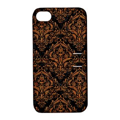 Damask1 Black Marble & Rusted Metal (r) Apple Iphone 4/4s Hardshell Case With Stand by trendistuff