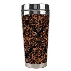 Damask1 Black Marble & Rusted Metal (r) Stainless Steel Travel Tumblers