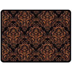 Damask1 Black Marble & Rusted Metal (r) Double Sided Fleece Blanket (large)
