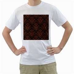 Damask1 Black Marble & Rusted Metal (r) Men s T Shirt (white)