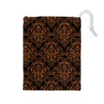 DAMASK1 BLACK MARBLE & RUSTED METAL (R) Drawstring Pouches (Large)  Front