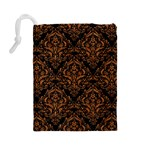DAMASK1 BLACK MARBLE & RUSTED METAL (R) Drawstring Pouches (Large)  Back