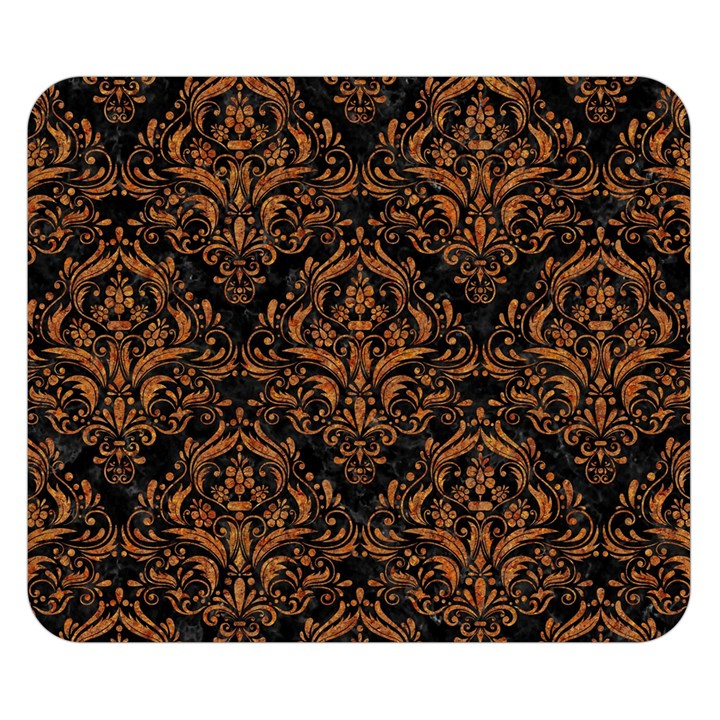DAMASK1 BLACK MARBLE & RUSTED METAL (R) Double Sided Flano Blanket (Small)