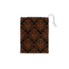 Damask1 Black Marble & Rusted Metal (r) Drawstring Pouches (xs)  by trendistuff