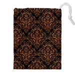 DAMASK1 BLACK MARBLE & RUSTED METAL (R) Drawstring Pouches (XXL) Front