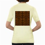 DAMASK2 BLACK MARBLE & RUSTED METAL Women s Yellow T-Shirt Back