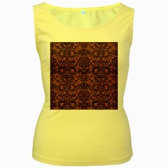 Damask2 Black Marble & Rusted Metal Women s Yellow Tank Top