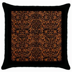 Damask2 Black Marble & Rusted Metal Throw Pillow Case (black) by trendistuff