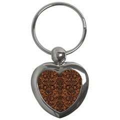 Damask2 Black Marble & Rusted Metal Key Chains (heart)  by trendistuff