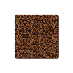 Damask2 Black Marble & Rusted Metal Square Magnet by trendistuff
