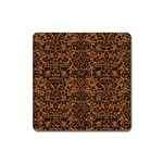 DAMASK2 BLACK MARBLE & RUSTED METAL Square Magnet Front